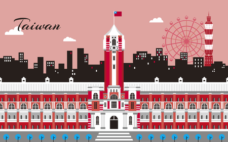 Taiwan travel concept, office of the president and taipei street scene in flat design, red tone Ilustração