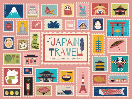 Japan Travel concept stamp, lovely japanese traditional symbols in stamp form, colorful flat design