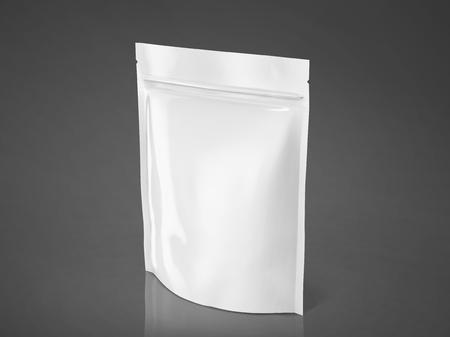 空白箔バッグ モックアップ デザインの白いパッケージは、3 d イラストレーション