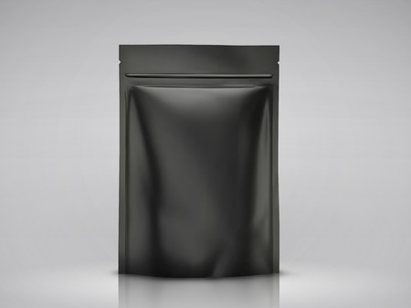 Blank foil bag mockup, black package for design uses in 3d illustration 向量圖像