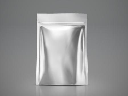 Het lege model van de foliezak, zilveren pakket voor ontwerpgebruik in 3d illustratie Stock Illustratie