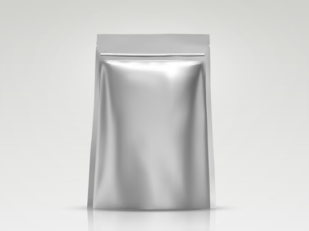 Blank foil bag mockup, silver package for design uses in 3d illustration Çizim