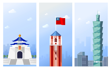 Taiwan travel concept, famous attraction in Taipei in flat design Illustration