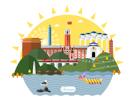 Taiwan travel concept, famous attraction in flat design style Ilustrace