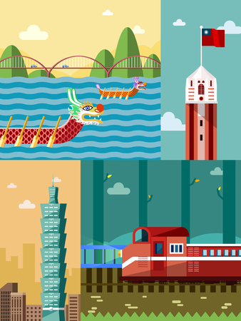Taiwan travel concept, famous attraction collage in flat design Stock Illustratie