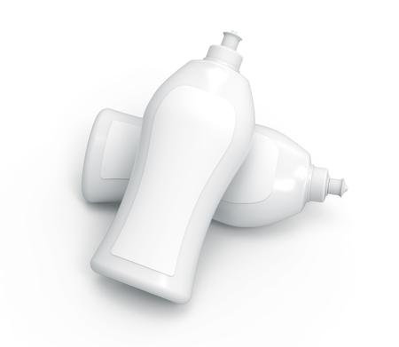 Dishwashing bottle mockup, 3d rendering kitchenware template, elevated view of blank bottle set