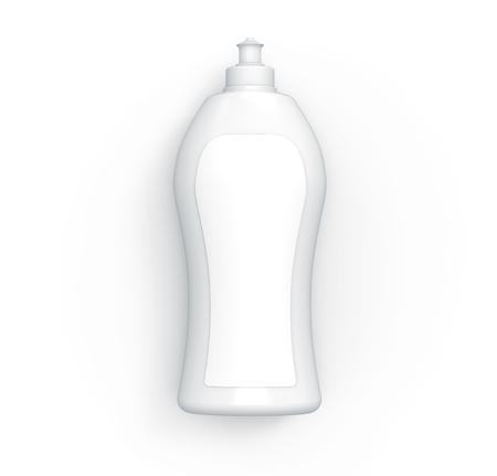 Dishwashing bottle mockup, 3d rendering kitchenware template, top view of blank bottle Stock Photo