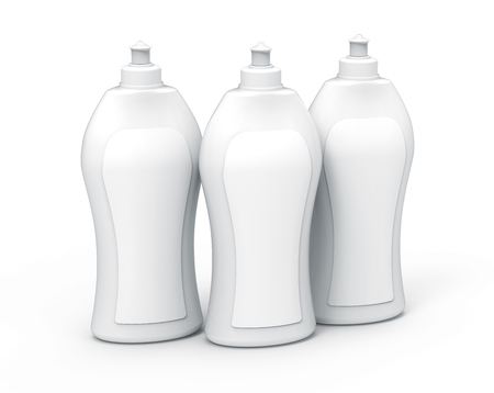 Dishwashing bottle mockup, 3d rendering kitchenware template, white container with label