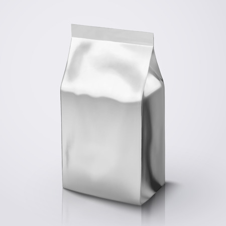 Coffee Bean package mockup, silver foil packet in 3d illustration for design uses 向量圖像