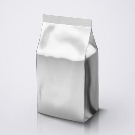 Het pakketmodel van de koffieboon, zilveren foliepakket in 3d illustratie voor ontwerpgebruik