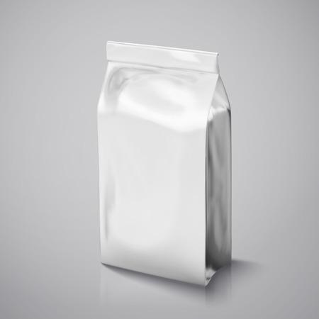 커피 콩 패키지 mockup, 디자인에 대 한 3d 그림에서 은색 호 일 패킷 사용