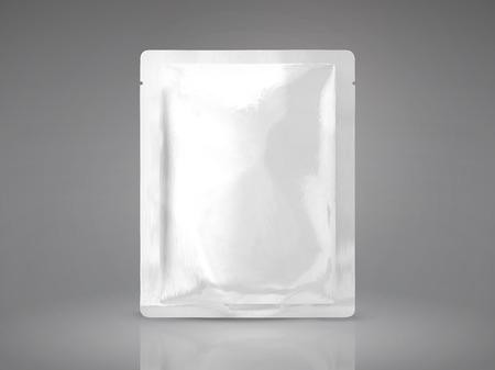 マスク パッケージ モックアップ、ライトグレーの背景に分離された四角形パックの 3 d 図で空白箔パッケージ テンプレート