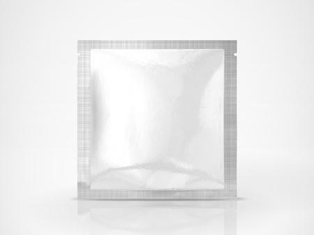 Gesichtsmaskenpaketmodell, leere Folienpaketschablone in der Illustration 3d, Quadratsatz lokalisiert auf weißem Hintergrund Standard-Bild - 91514724