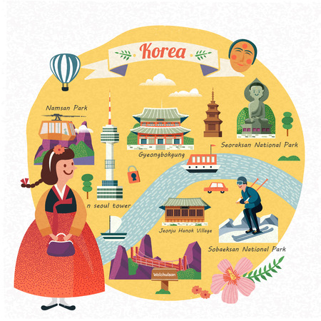 Korea travel illustration, lovely girl wearing hanbok and seeing famous landmarks in Korea, flat design 矢量图像