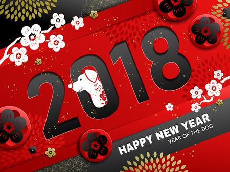 Chinese New Year design, 2018 decoration with dog and plum elements, black and red tone Stock Illustratie
