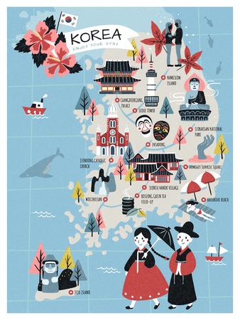 韓国の旅行マップ、素敵なフラットスタイルの韓国のアトラクションや旅行者のための特産品  イラスト・ベクター素材