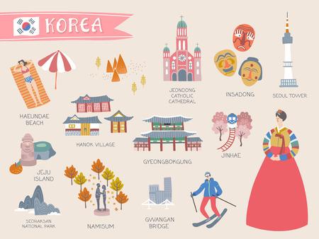 韓国の旅行コレクション、素敵なフラットスタイルの韓国のアトラクションや淡いピンクの背景に特産品
