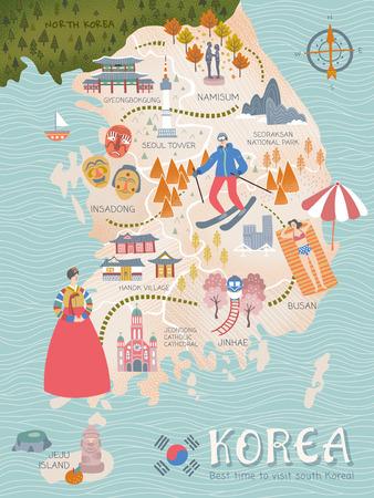 한국 여행지도, 사랑스러운 평면 스타일 한국 명소 및 여행자를위한 특선