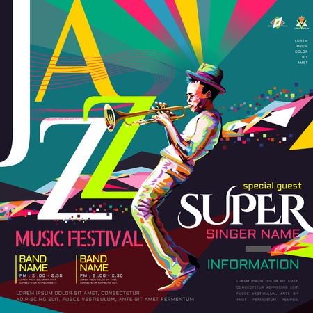 Jazz all night poster, music festival design in WPAP style, pop art portrait for trumpet performance