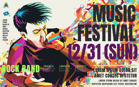 Music concert poster, a Rapper in WPAP style, pop art portrait for rock music festival 일러스트