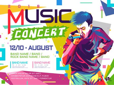 Music concert poster pop art concept illustration. Vectores