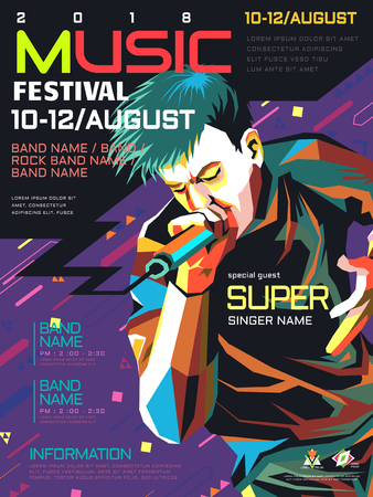 Music concert poster, a Rapper in WPAP style, pop art portrait for rock music festival Иллюстрация