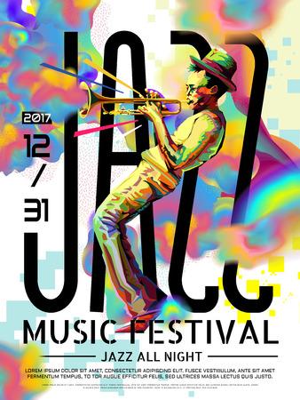 Poster jazz all night, design di festival musicali in stile WPAP, ritratto pop art per performance tromba Vettoriali