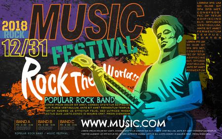 록 음악 콘서트 포스터, WPAP 스타일의베이스 기타 플레이어, 록 음악 축제를위한 팝 아트 초상화