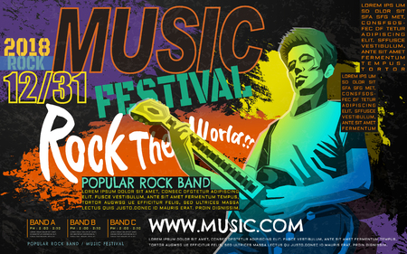 Rock music concert poster, bass guitar player in WPAP style, pop art portrait for rock music festival Illustration
