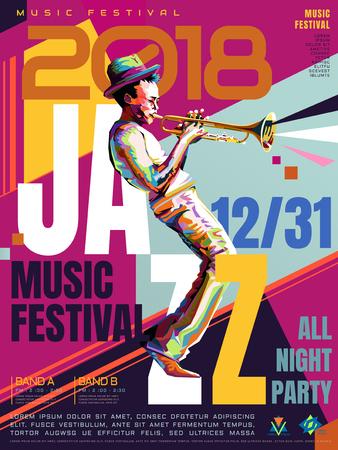 재즈 올 밤 포스터, WPAP 스타일의 음악 축제 디자인, 트럼펫 공연을위한 팝 아트 초상화