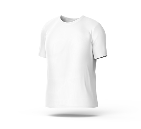 Crew neck T-shirt, blank white cloth template for men with invisible model isolated on white background, 3d render
