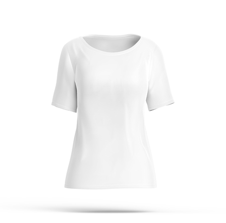Elbow length shirt mockup, blank white cloth template for women with invisible model on white background, 3d render