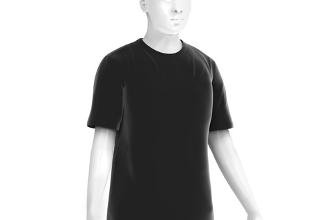 Crew neck T-shirt, man fashion dummy wearing blank black cloth template isolated on white background, 3d render Stock Photo