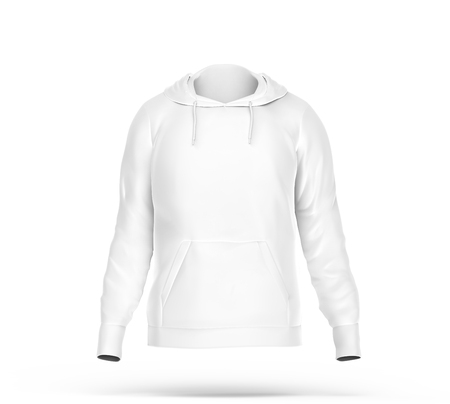 Hoodie sweatshirt mockup, blank white cloth with invisible model isolated on white background, 3d render Stock Photo