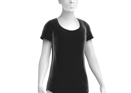 Scoop neck shirt mockup, women fashion dummy wearing blank black cloth template on white background, 3d render Stock Photo