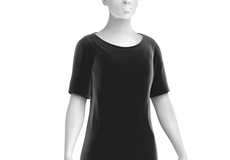 Elbow length shirt mockup, women fashion dummy wearing blank black cloth template on white background, 3d render