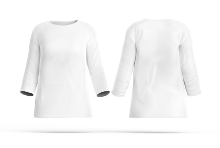 Three Quarter Sleeves Shirt Set, Blank White Cloth Template For ...