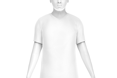 V neck T-shirt, man fashion dummy wearing blank white cloth template isolated on white background, 3d render Stock fotó
