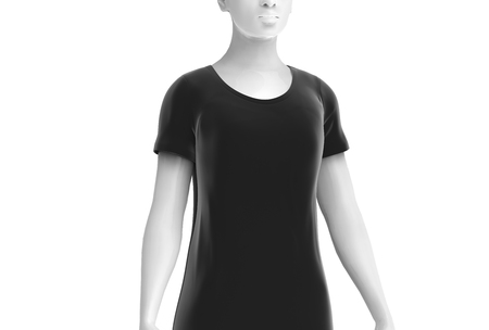 T shirt mockup, women fashion dummy wearing blank black cloth template on white background, 3d render