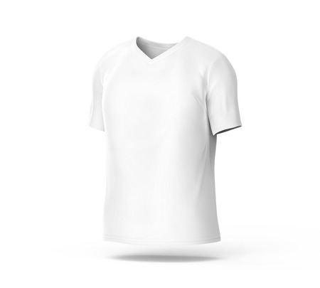 V Neck T-shirt, Blank White Cloth Template For Men With Invisible ...
