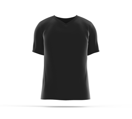 V neck T-shirt, blank black cloth template for men with invisible model isolated on white background, 3d render