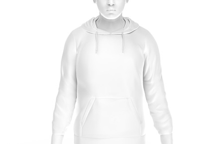Hoodie sweatshirt mockup, fashion dummy man wearing blank white cloth isolated on white background, 3d render Stock Photo