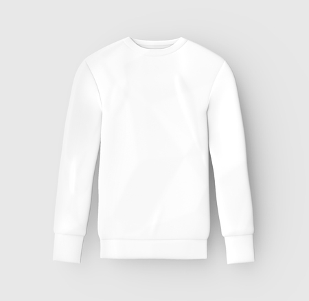 Sweatshirt mockup template, blank white unisex cloth isolated on light gray background, 3d render Фото со стока