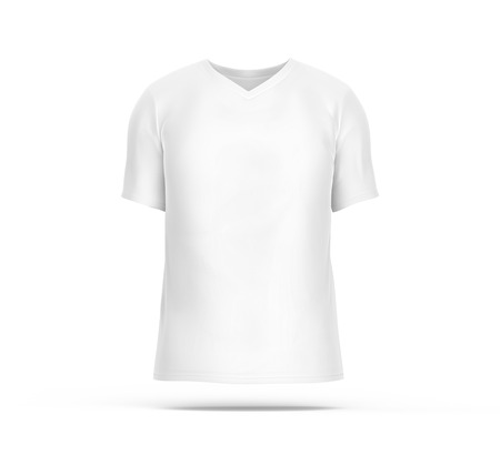 V neck T-shirt, blank white cloth template for men with invisible model isolated on white background, 3d render