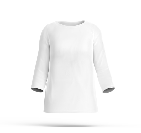Three Quarter Sleeves Shirt Mockup, Blank White Cloth Template ...