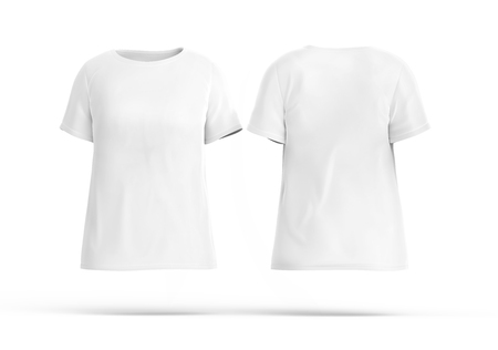 Crew neck shirt mockup set, blank white cloth template for women with invisible model on white background, 3d render Stock fotó
