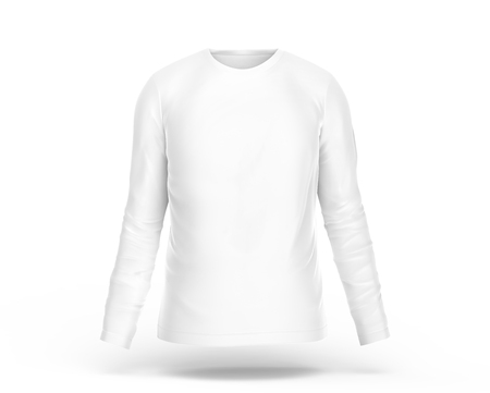 Long sleeves shirt, blank white cloth template with invisible model isolated on white background, 3d render