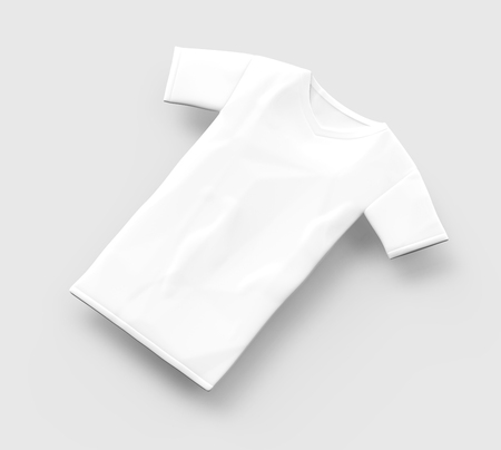 V neck T-shirt mockup, blank white cloth template isolated on light grey background, 3d render elevated view Stock fotó