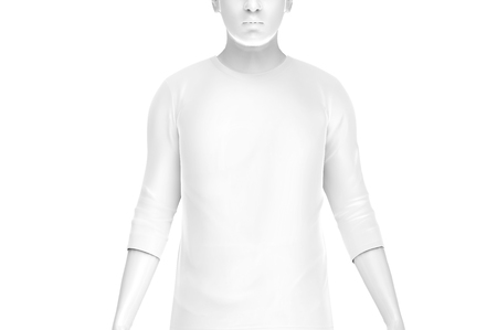 Three quarter sleeves, man fashion dummy wearing blank white cloth template isolated on white background, 3d render Stock Photo