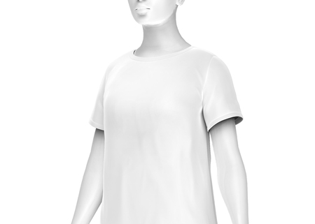 T shirt mockup, women fashion dummy wearing blank white cloth template on white background, 3d render